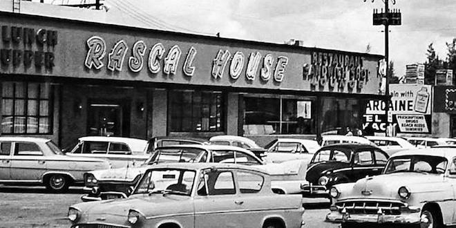 Old photo of the Rascal House, a Jewish Delicatessan ntersection of 172nd Street and Collins Avenue in Sunny Isles Beach, Florida.