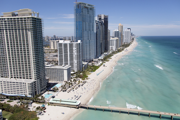 Aerial view of the eroding beachline in Sunny Isles Beach.