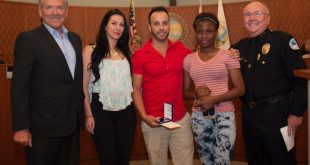 A South Florida man was honored at a Sunny Isles Beach Commission Meeting for saving a woman's life in Sunny Isles Beach.
