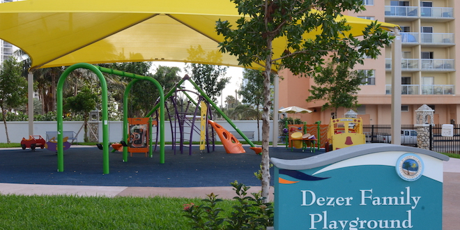 This photo shows playground equipment at Intracoastal Park.