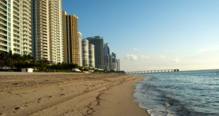 A Photo of the Beach Coastline in Sunny Isles Beach and the skyline that lines the coast.