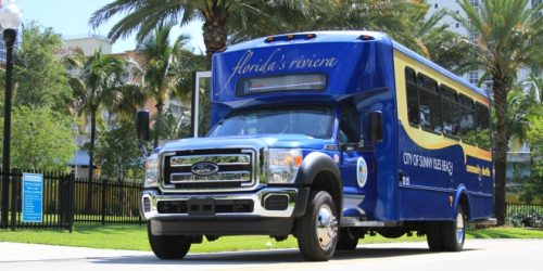 A photo of the Sunny Isles Beach shuttle bus.