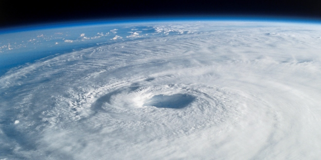 Satellite view of a hurricane on Earth.