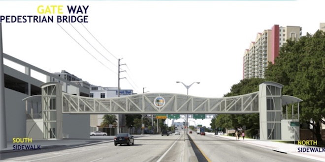 Rendering for the Gateway Pedestrian Bridge at 163rd Street.