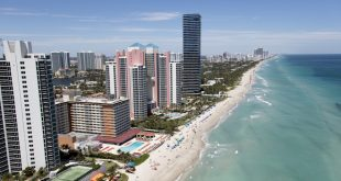 Aerial photo of the Sunny Isles Beach shoreline.