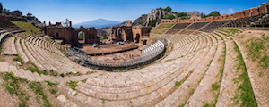 Teatro Greco aka Taormina Greek Theatre, view of the amphitheatre and Mount Etna Volcano, Sicily, Italy, Europe. This is a photo of Teatro Greco aka Taormina Greek Theatre showing the view of the amphitheatre with Mount Etna Volcano in the background, Sicily, Italy, Europe. Teatro Greco, aka Taormina Greek Theatre is considered one of the best things to do in Taormina and Sicily due to the fantastic condition of the Greek ruins and the stunning views it offers of Mount Etna Volcano.