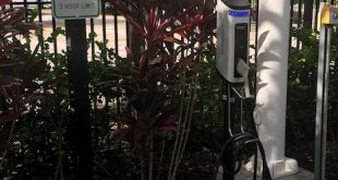 New electric car charging station at the Sunny Isles Beach Government Center Parking Lot