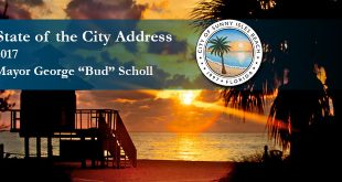 "Sunset photo of the beach with overlaid text depicting the State of the City Address by Mayor George ""Bud"" Scholl."