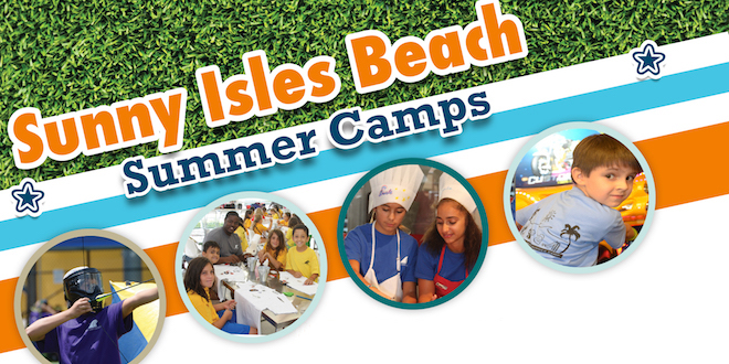 Graphic featuring several photos of Sunny Isles Beach Summer Camps.