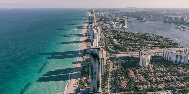 Aerial photo of the Sunny Isles Beach shoreline.