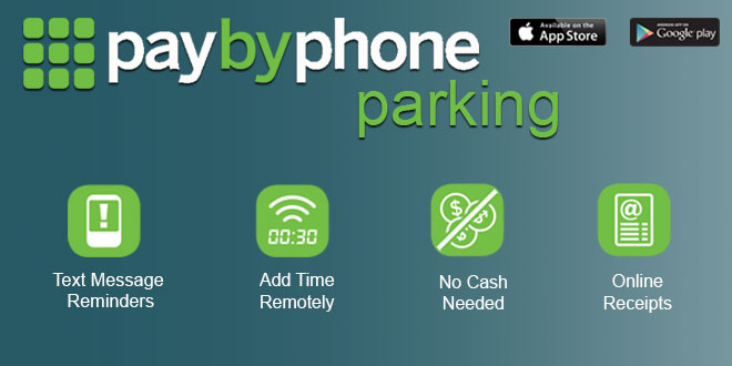 Graphic displaying PaybyPhone parking information..