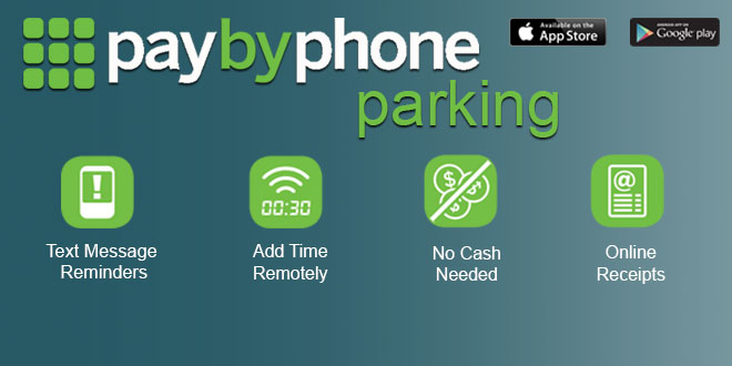 Graphic announcing the new Paybyphone parking feature offered by the City of Sunny Isles Beach. Featuring text message reminders, add time remotely, no cash needed and online receipts.