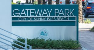 Entrance sign to the City's newest park, Gateway Park.