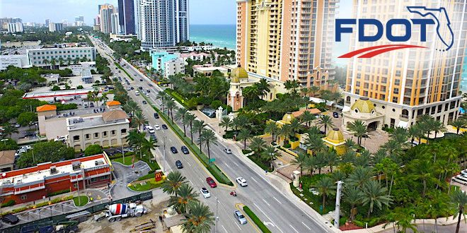 Aerial view of A1A/Collins Avenue in Sunny Isles Beach