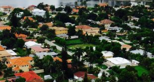 Aerial photo of a Sunny Isles Beach residential area.