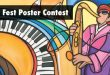 Image announcing our Jazz Fest Poster Contest, featuring an illustrated caricature of a man playing the saxophone.