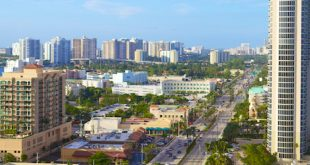 View of Collins Avenue State Road A1A from above.