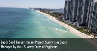 Aerial image of the beach announcing the Public Meeting regarding the Beach Sand Renourishment Project in Sunny Isles Beach.