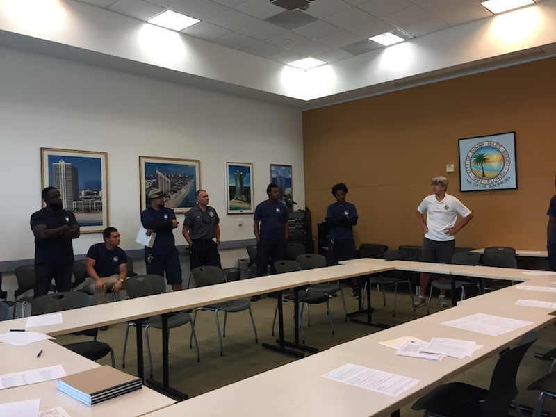 Parks and emergency crews meet with Mayor Scholl the morning following Hurricane Irma.