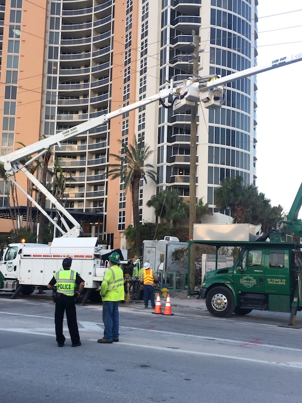 FPL crews erect powerlines on the streets of Sunny Isles Beach.