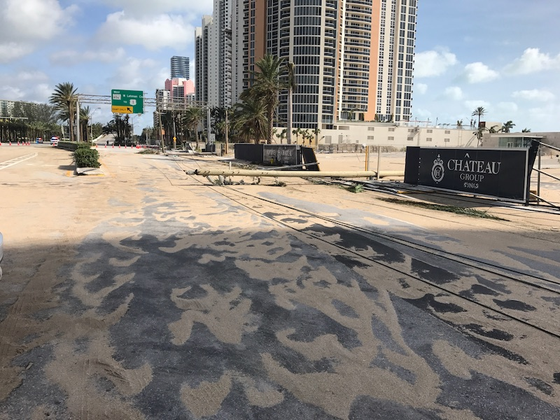 Sand is spread across Collins Avenue, after Irma causes flooding and major wind damage in Sunny Isles Beach.