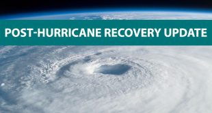 "Hurricane imagery on satellite with an overlay of text that reads, ""Post-Hurricane Recovery Update."""