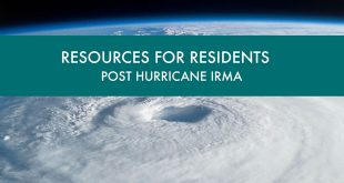 "Satellite photo of a Hurricane with an overlay of the text ""Resources for Residents Post Hurricane Irma."""