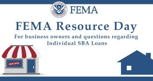 Slide promoting FEMA resource day for business owners and questions regarding individual SBA loans.