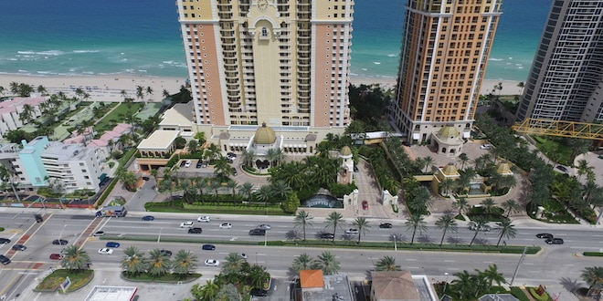 Aerial view of Collins Avenue by Acqualina Resort in Sunny Isles Beach.