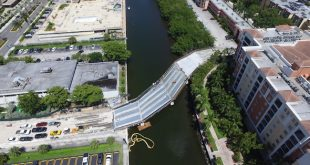 Aerial view of new Pedestrian Bridge in Sunny Isles Beach connecting 172 - 174th street.