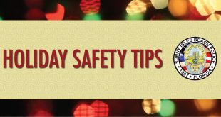Holiday Safety Tips Graphic with Police Department Badge