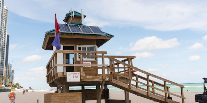 Lifeguard tower with new solar panels for free wi-fi on the beach.