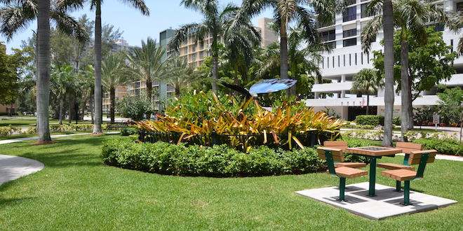 Photo: Checkers table and butterfly garden at Senator Gwen Margolis Park