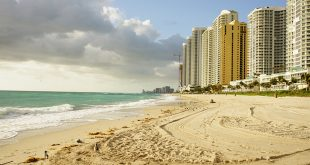 Beach after the beach sand renourishment project adds more sand to Sunny Isles Beach beaches.