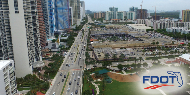 Aerial view of Collins Avenue near 172nd Street and Town Center Park.