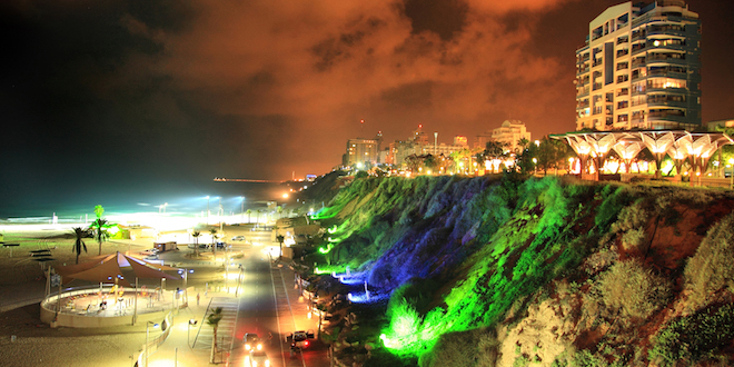 Photo: Night view of beach in Netanya Israel