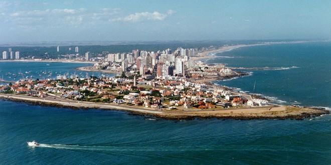 Aerial view of coastal city Punta del Este, Uruguay