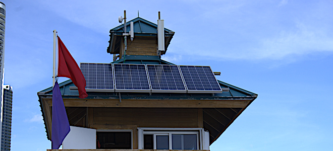Solar panel on top of lifeguard tower that provides free wi-fi on the beach