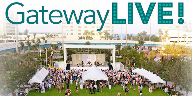 Gateway LIVE! logo above a picture of a performance taking place at Gateway Park with crowds of people gathered around the stage.