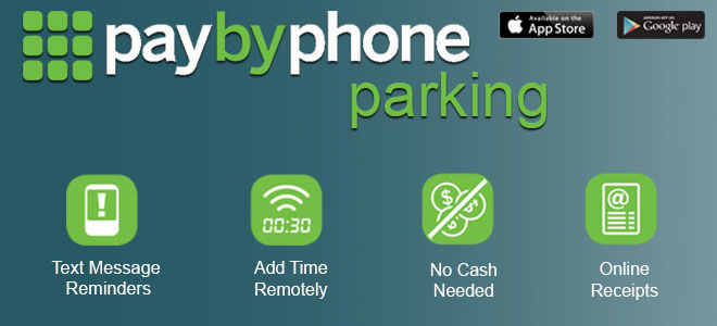 PaybyPhone Parking: Text message reminders, add time remotely, no cash needed, online receipts