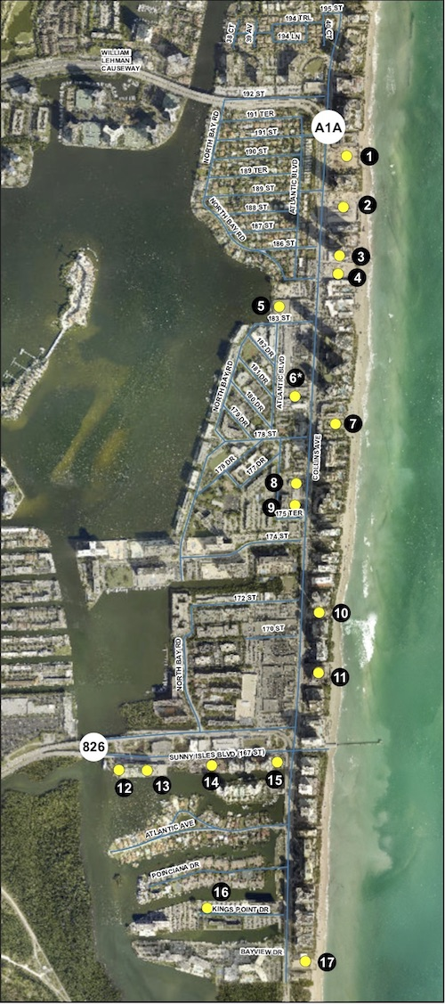 Approved and current development locations in Sunny Isles Beach