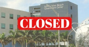 Sunny Isles Beach Government Center Building with Closed text overlayed