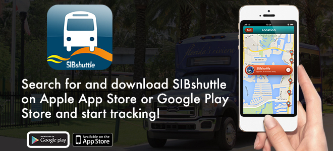 Search for and download SIBshuttle on Apple App Store or Google Play Store and start tracking