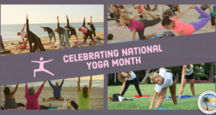 Celebrating National Yoga Month - A collage of pictures featuring people practicing yoga.