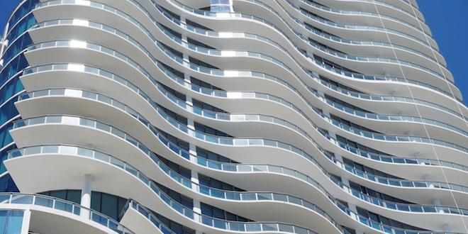 Close up of condominium building
