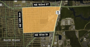 Map boundaries depicting the rabies alert that was issued for North Miami Beach.