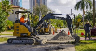 Miami-Dade Water and Sewer Department performing work in Golden Shores neighborhood
