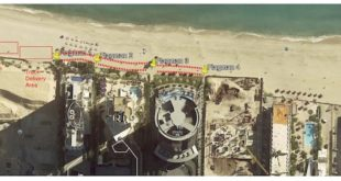 Aerial view of the beach showing where the Turnberry Beach Sand Renourishment Project will take place. North area shows where sand will be stockpiled. Next to that is the truck delivery area. South of this area, 4 flagment are stationed to oversee traffic. These areas are set up close to the Buildings and away from the water.