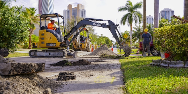 Miami-Dade Water & Sewer workers performing work in Golden Shores neighborhood.