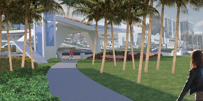 Rendering of 174th Street Overpass bridge, view from Samson Oceanfront Park.